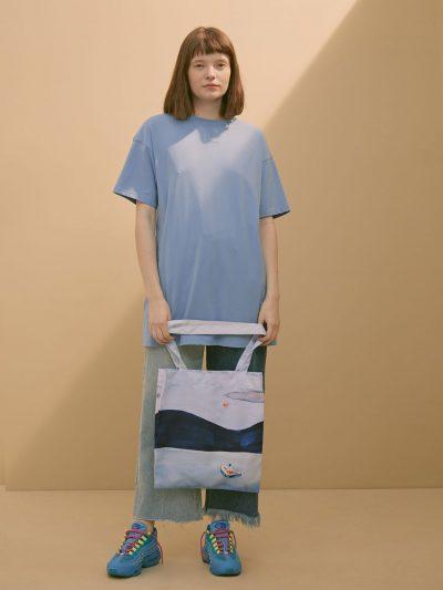 bolsa canvas paisaje lago azul con modelo