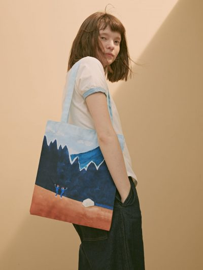 bolsa canvas paisaje monte tierra con modelo