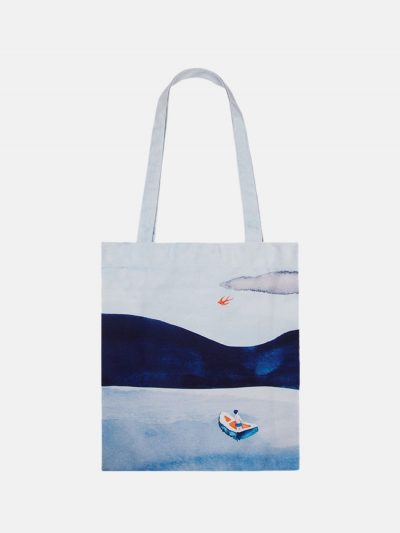 bolsa canvas paisaje lago azul