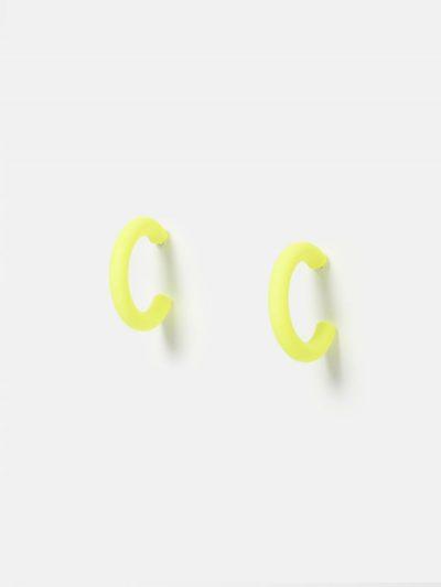 pendientes aro color amarillo flúor