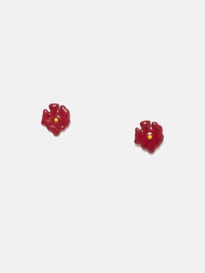 pendientes de flor roja