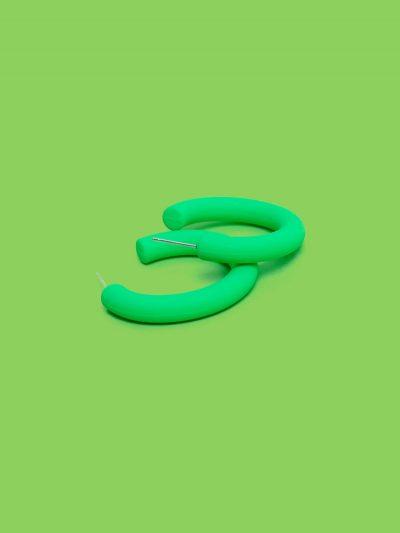 pendientes aro color verde flúor