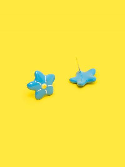 pendientes de flor estrella azul