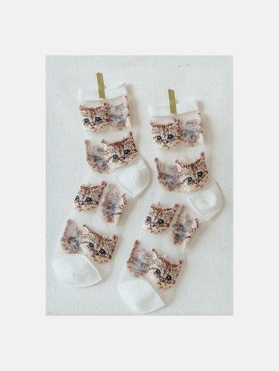 calcetines malla kitten blanco