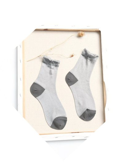 calcetines shimmer gris