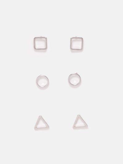 pack pendientes figuras geométricas plateado