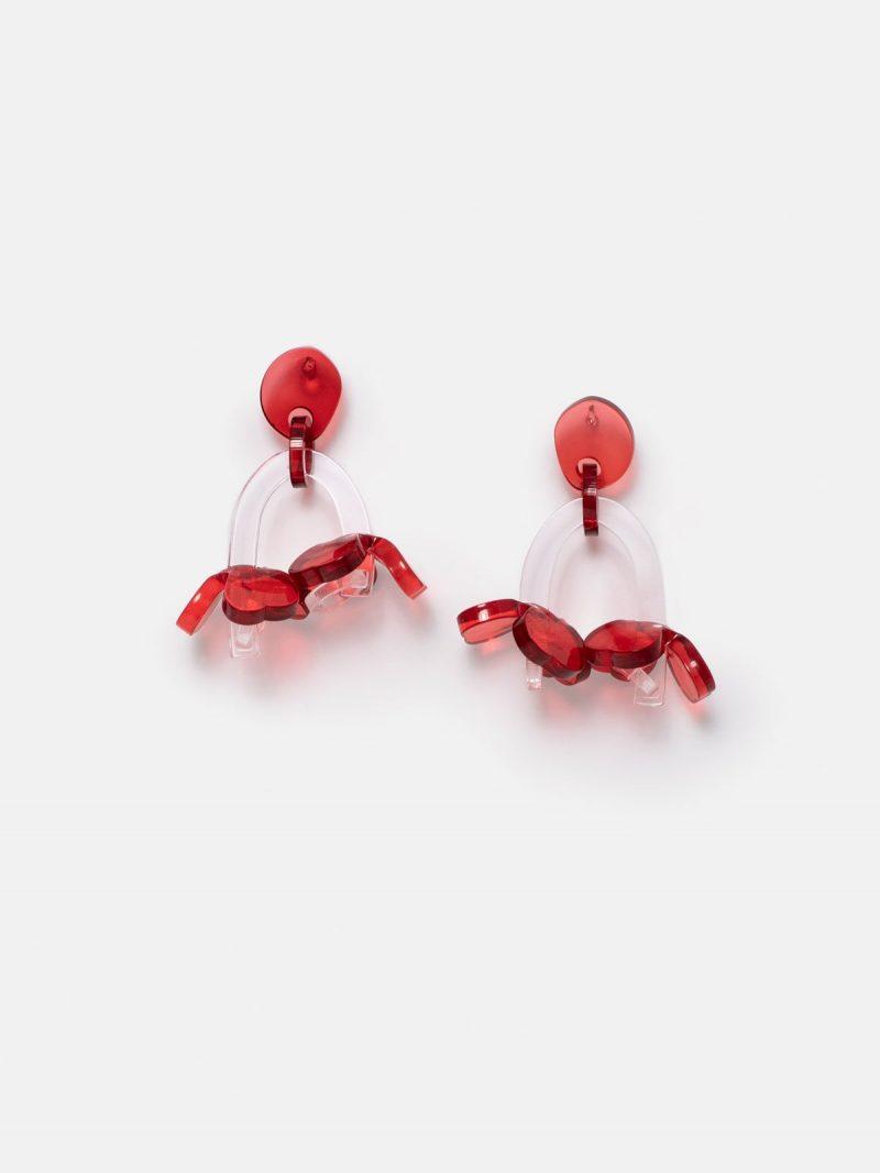 pendientes blossom rojo