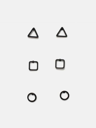 pack pendientes figuras geométricas negro