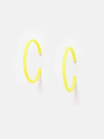 Pendientes Hula Hoop amarillo flúor