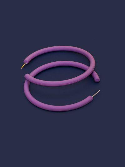 Pendientes Hula Hoop violeta con fondo