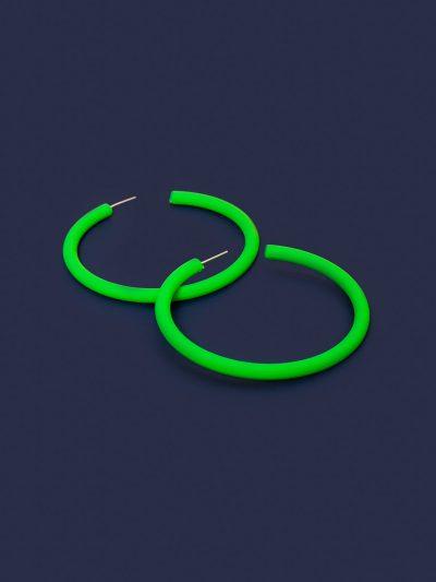 Pendientes Hula Hoop Neón verde flúor con fondo