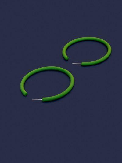 Pendientes Hula Hoop verde con fondo