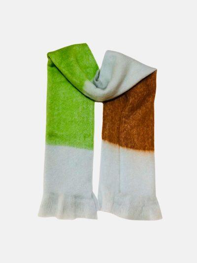 bufanda tricolor verde marrón azul claro