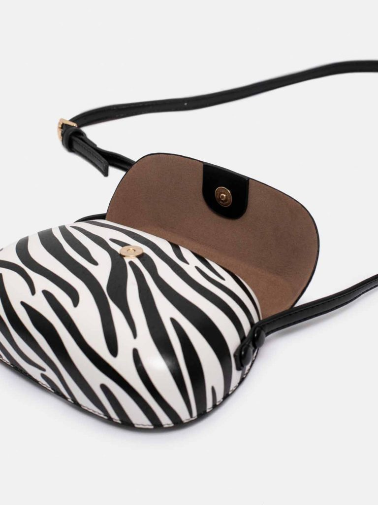 bolso shell zebra detalle